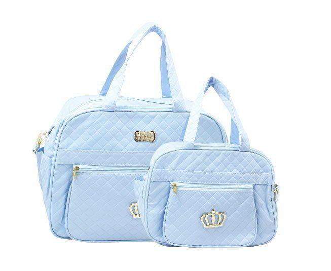 Kit Bolsa Maternidade Azul Coroa Mave Baby