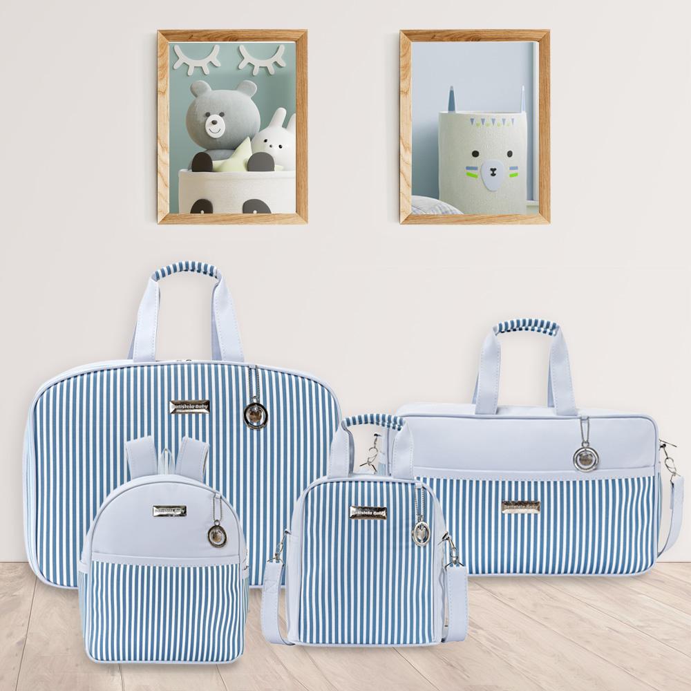 Kit Bolsa Maternidade Azul Listrado Batistela
