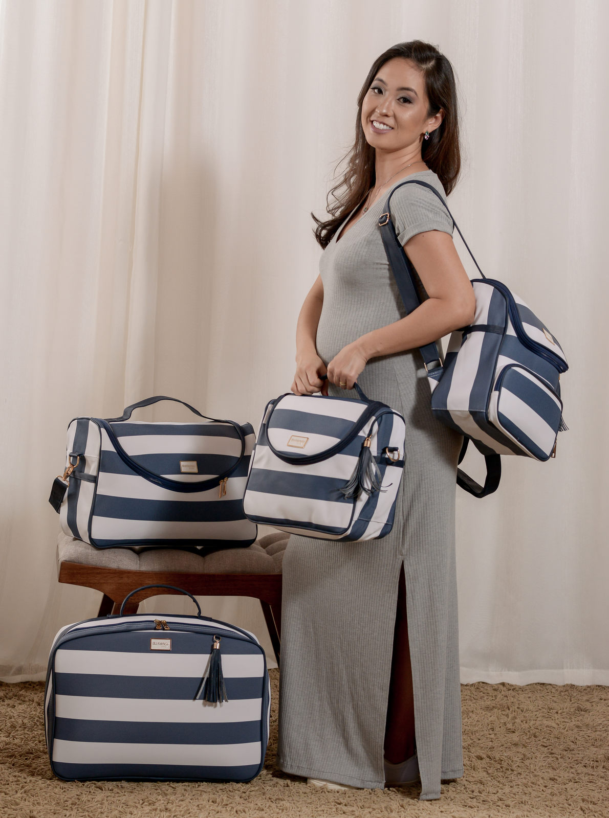 Kit Bolsa Maternidade Azul Listrado Manhattan Batistela