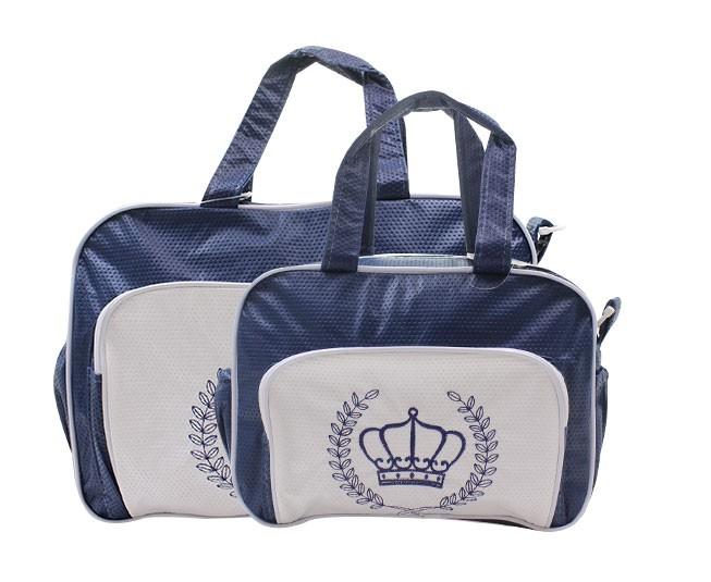 Kit Bolsa Maternidade Azul Marinho com Branco Coroa Mave Baby