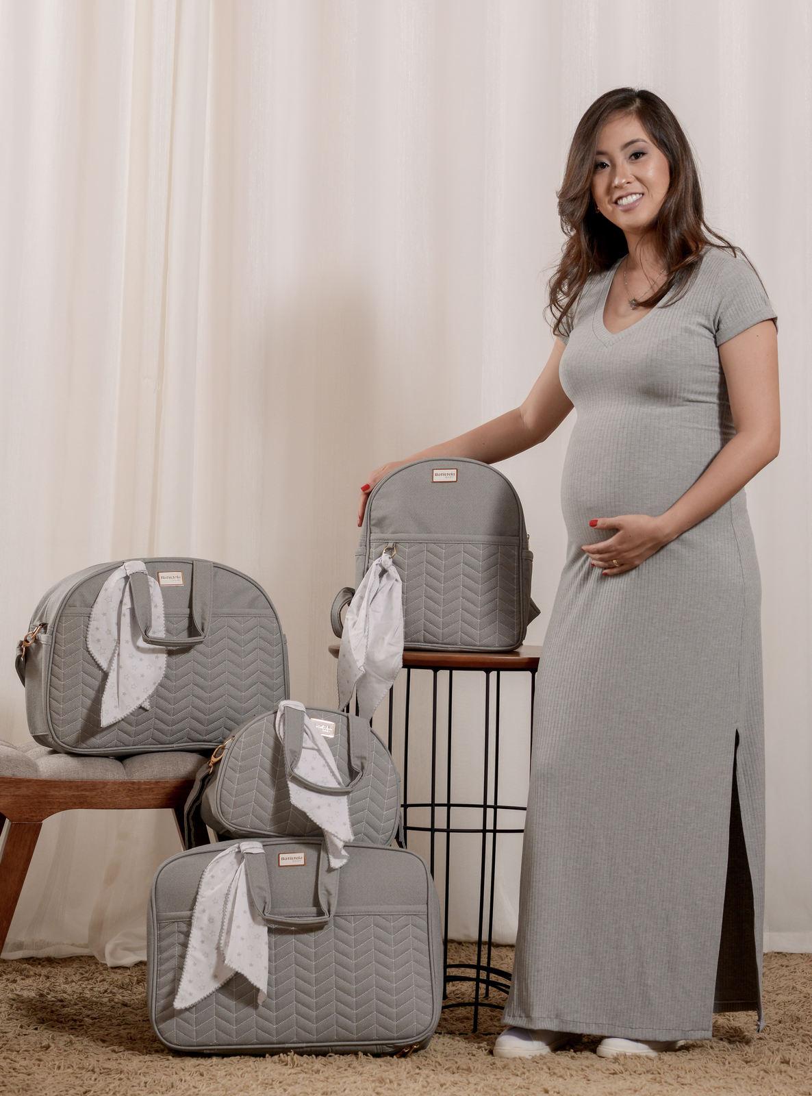 Kit Bolsa Maternidade Cinza Laço Batistela