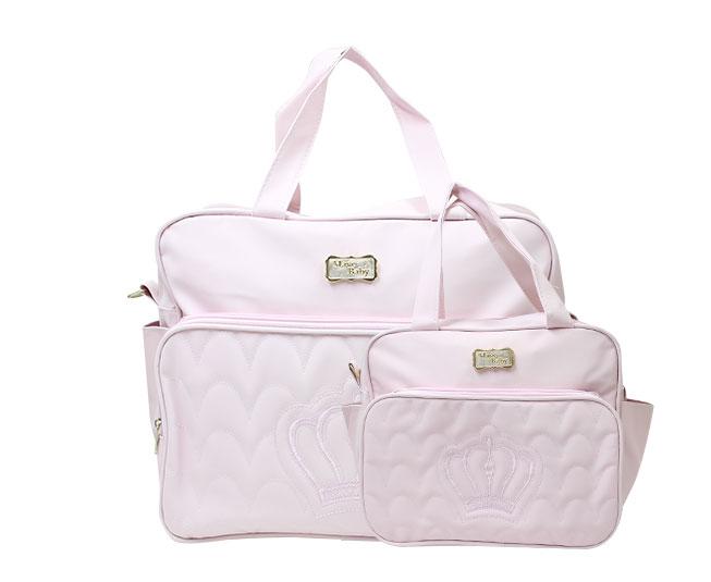 Kit Bolsa Maternidade Rosa Coroa Mave Baby