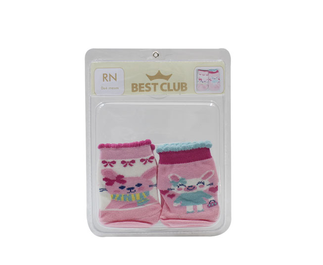 Kit De Meias  Coelhinho Rosa Antiderrapante Best Club