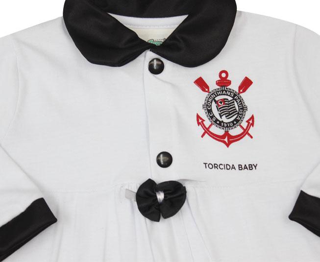 Kit Feminino Macacão + Lacinho + Saída de Maternidade Oficial Corinthians