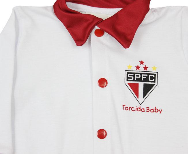 Kit Masculino Oficial São Paulo Macacão + Boné + Saída de Maternidade Torcida Baby