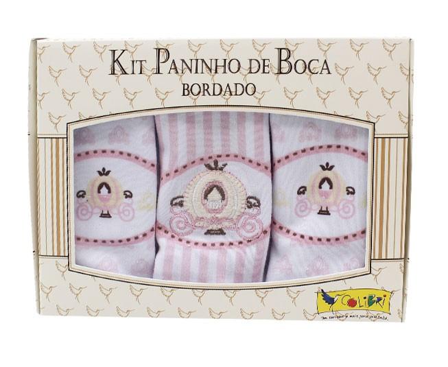 Kit Paninho de Boca Bordado Carruagem Rosa Colibri