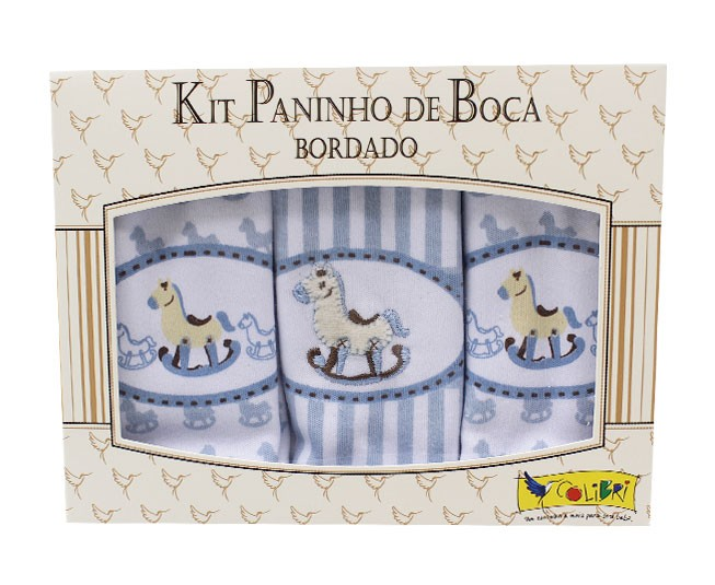 Kit Paninho de Boca Bordado Cavalinho Azul Colibri