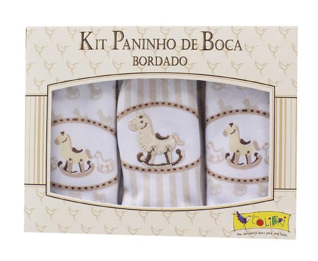 Kit Paninho de Boca Bordado Cavalinho Bege Colibri