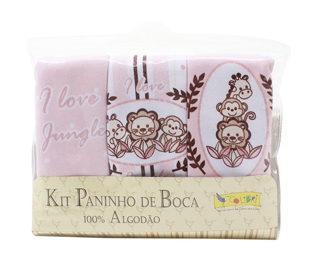 Kit Paninho de Boca Jungle Rosa Colibri
