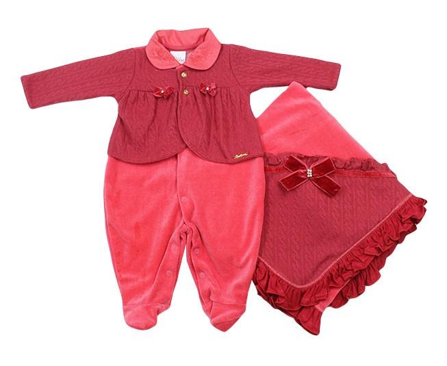 b519b159dc ... Kit Saída de Maternidade Feminino Rosas e Strass Rosa Paraíso - Criança  e Bebê ...