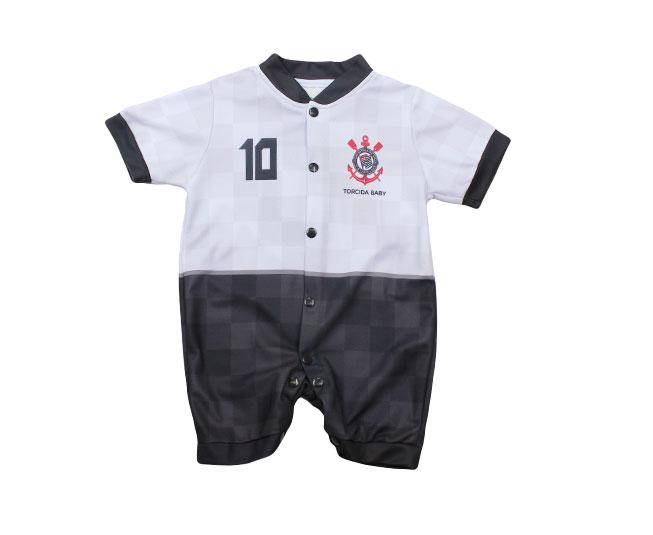 Macacão Bebê com Botões Oficial Corinthians Branco Torcida Baby