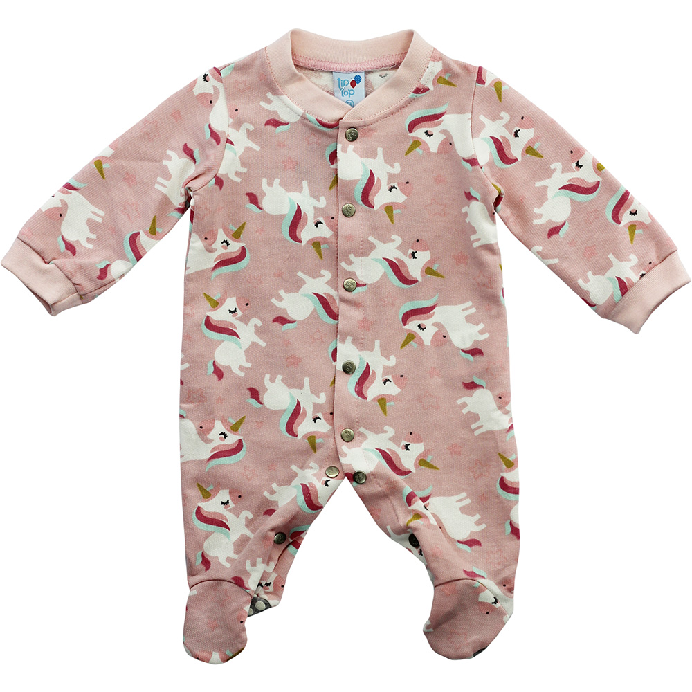 Macacão Bebê Malha Tip Top Rosa Unicórnio