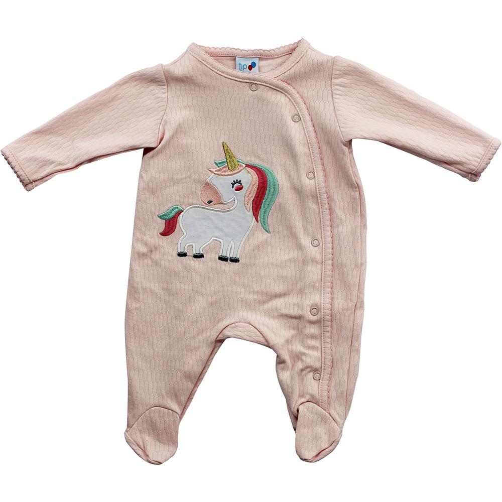 Macacão Bebê Tip Top Malha Rosa Unicórnio