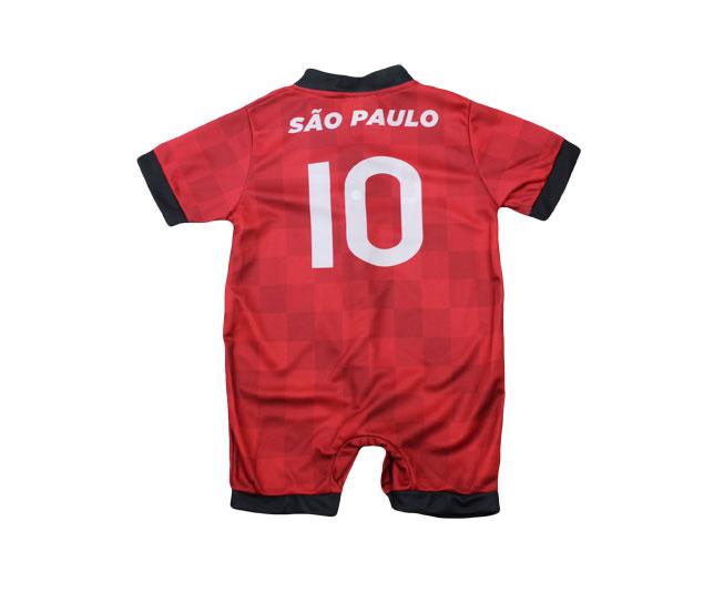 Macacão Bebê Masculino + Botões Oficial São Paulo Torcida Baby
