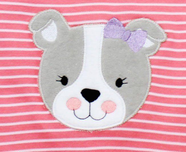 Macacão Bebe Menina Manga Curta Listrado Rosa Salmão e Branco Cachorro Best Club