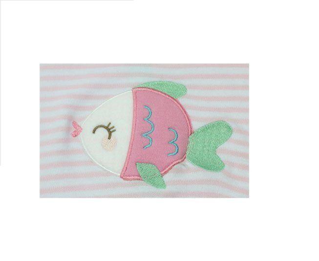 Macacão Bebe Menina Manga Curta Rosa com Branco Peixinho Best Club
