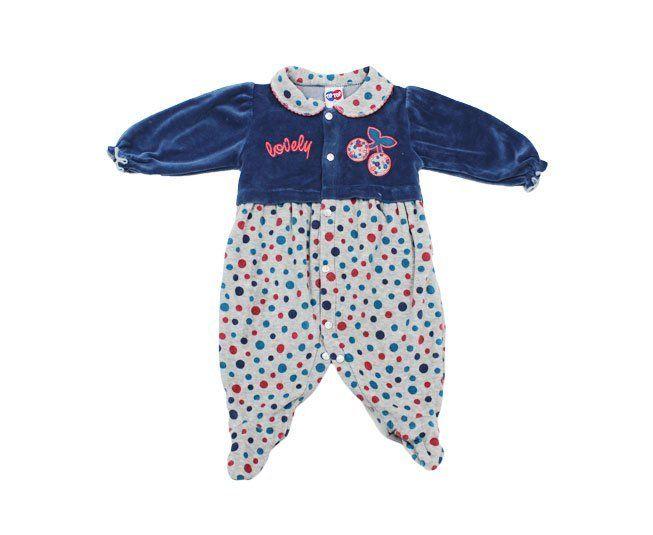 92408f03d1f ... Macacão Bebe Menina Manga longa Lovely azul Tip Top - Criança e Bebê ...