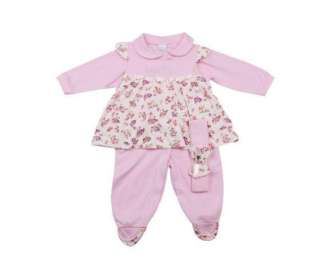 Macacão Bebê Menina Manga Longa Rosa Estampado Florido Koxilinho