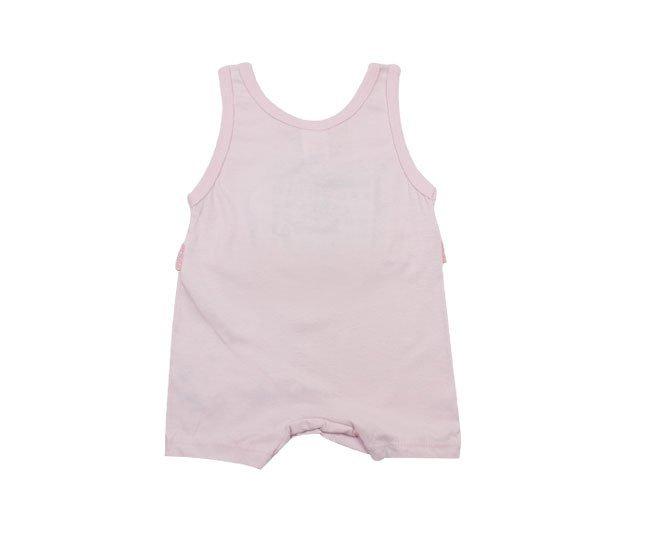 Macacão Bebe Menina Regata Rosa de Gatinho Bicho Molhado