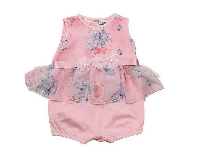 Macacão Bebe Menina Regata  Rosa Florido Sonho Mágico