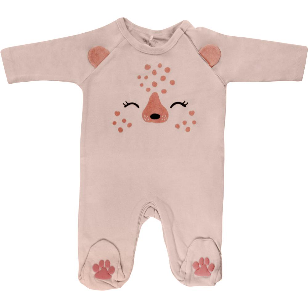 Macacão Bebê Menina Tip Top Ursinho Rosa