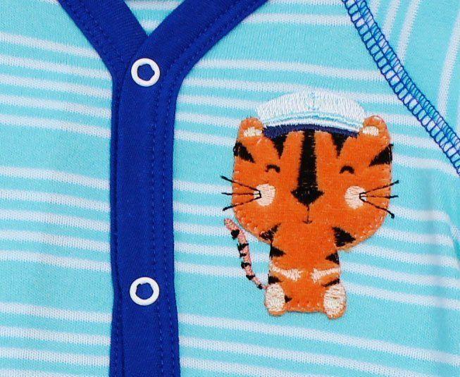 Macacão Bebê Menino Manga Curta Azul Claro com Branco Tigre Best Club