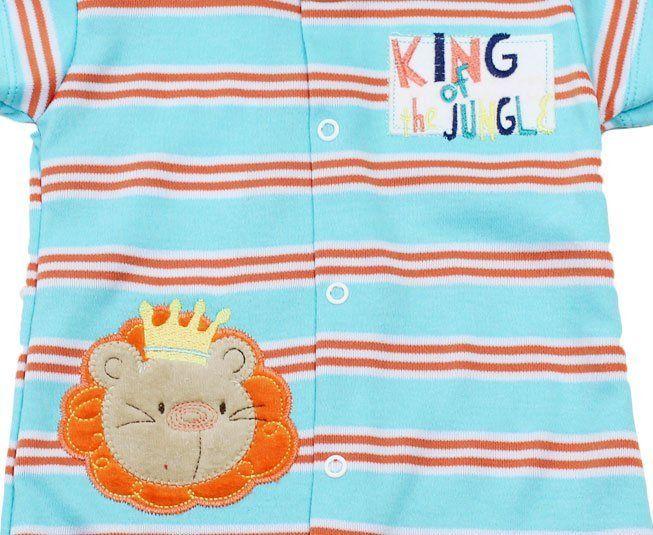 Macacão Bebe Menino Manga Curta Listrado Leão King of the Jungle Best Club