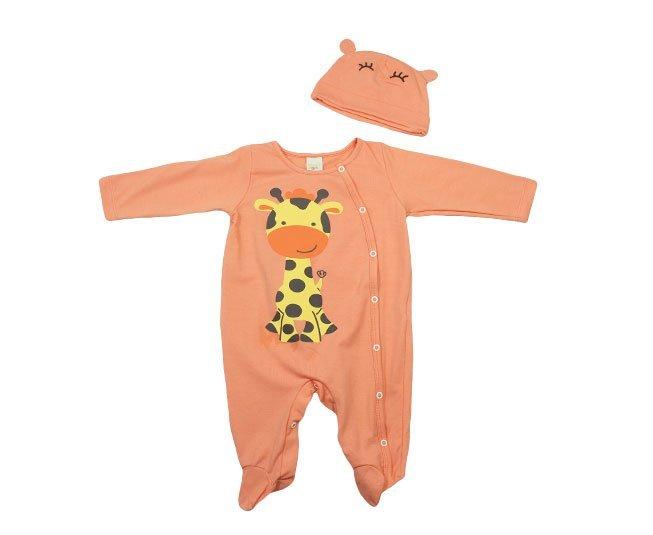 Macacão Bebe Menino Manga Longa Laranja Girafa com Touquinha Smoby Baby