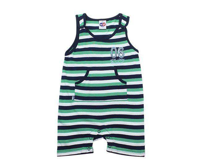 bd7d55b92a6 ... Macacão Bebe Menino Regata Banho de Sol Listrado Verde Tip Top - Criança  e Bebê ...