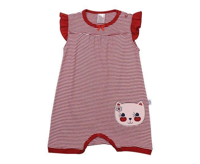 Macacão Bebê Menina Regata Listrado Vermelho Gatinho Meia de Leite