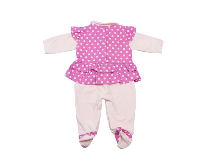 Macacão Bebe Menina Rosa com Bolinhas e Laço mais Tiara de Laço Koxilinho