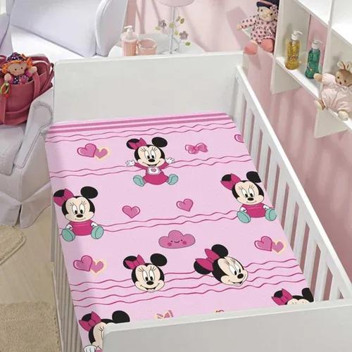 Manta De Bebê Menina Minnie Rosa Coração