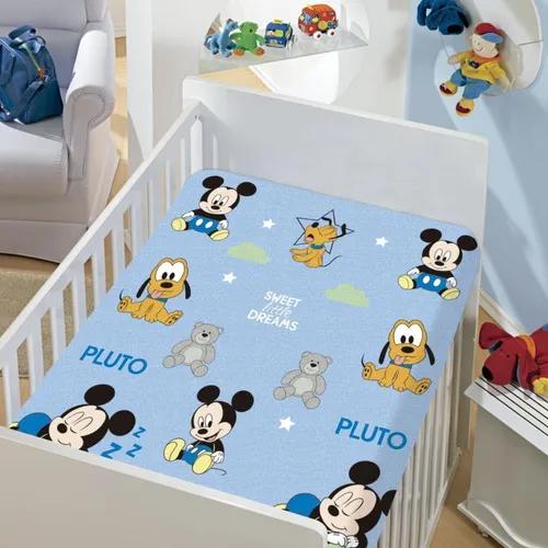 Manta De Bebê Menino Mickey Azul Mickey e Pluto