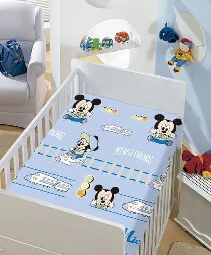 Manta De Bebê Menino Mickey Azul Trenzinho