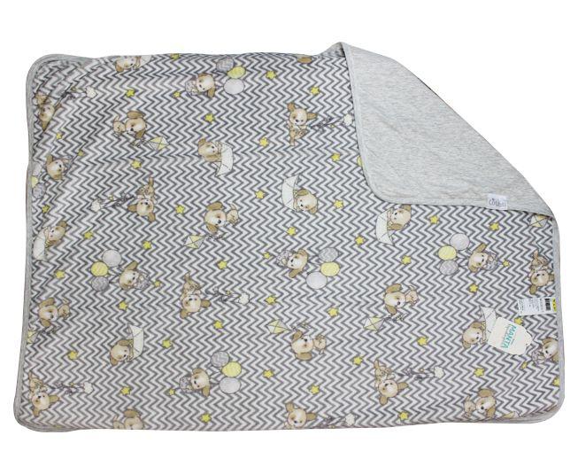 Manta de Bebe Microfibra Colibri Cinza Cachorinho