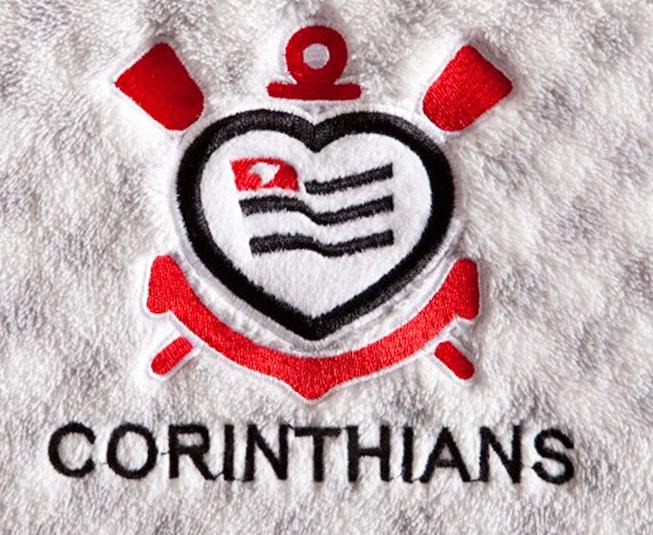 Manta Microfibra Corinthians de Coração Cinza