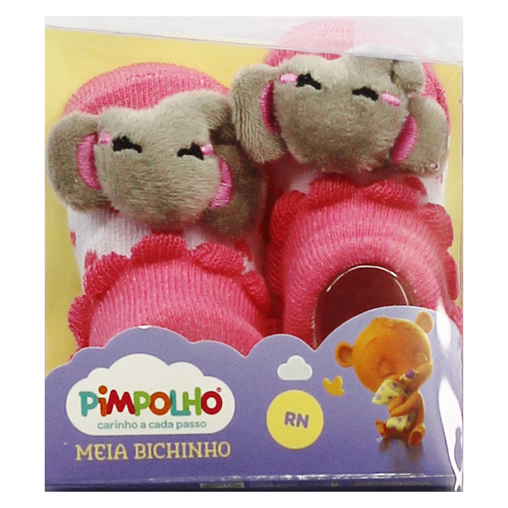 Meia De Bebê Menina Elefantezinho Rosa Pimpolho