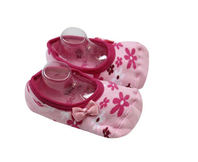 Meia Rosa Florida com Antiderrapante Lupo Baby