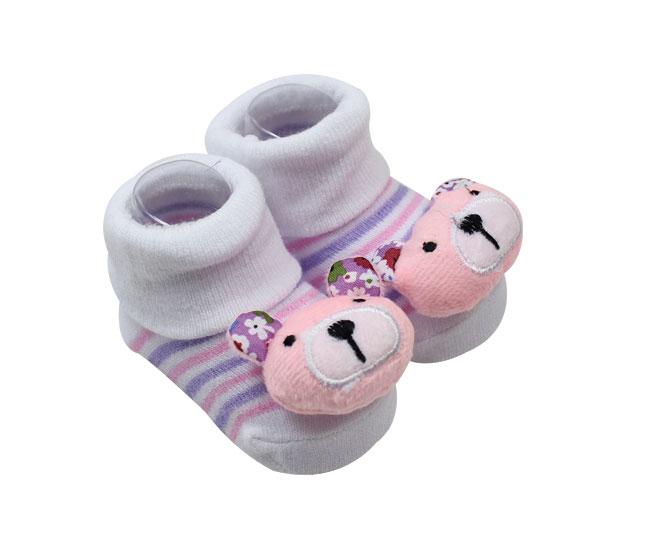 Meia Sapatilha Bebê Ursinha com Listras Pimpolho