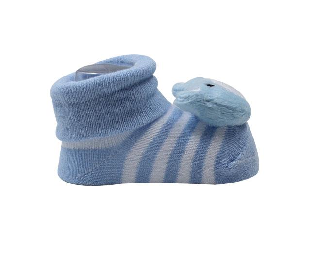 Meia Sapatilha Bebê Ursinho Azul com Listras Brancas Pimpolho