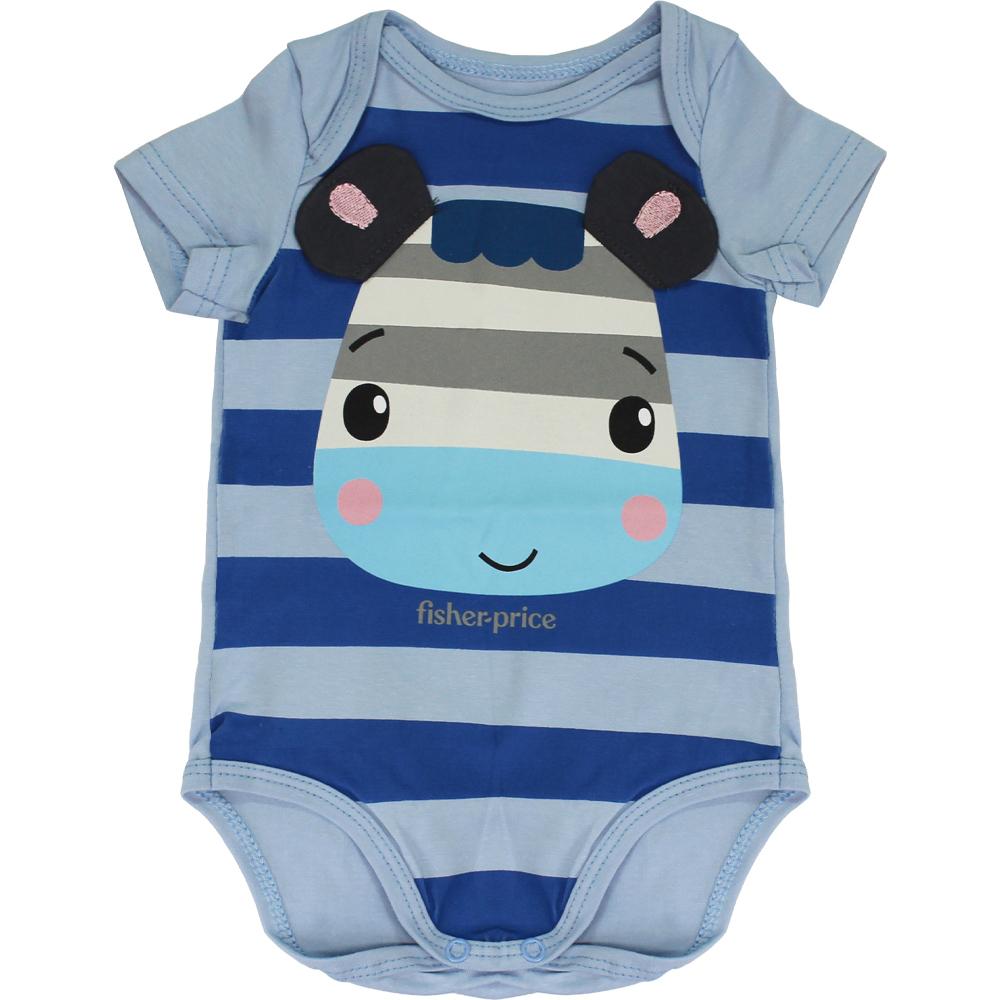 Body Zebra Para Bebê Azul Malwee