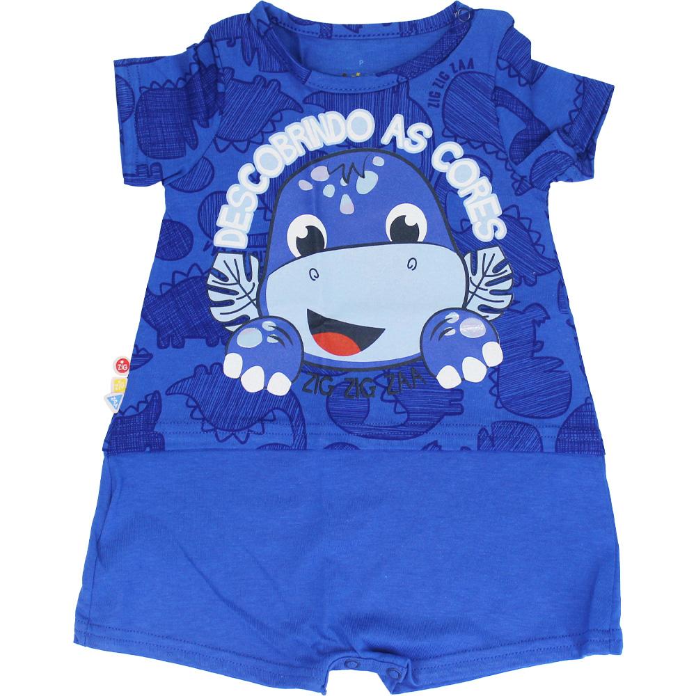 Macacão Curto Bebê Menino Dinossauro Azul Malwee