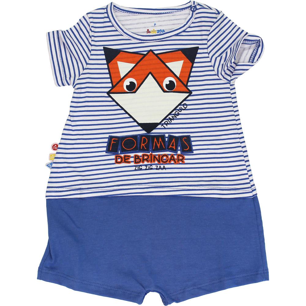 Macacão Curto Bebê Menino Raposinha Azul Malwee