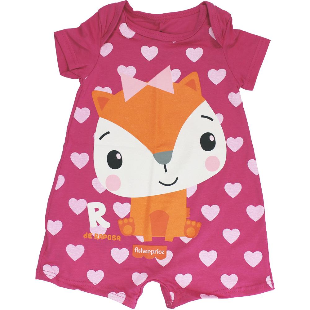 Macacão Curto Bebê Menina Raposinha Fisher Price Pink