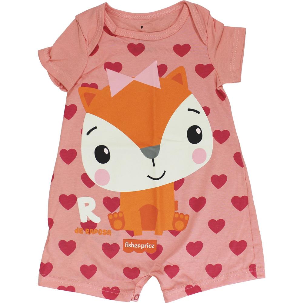 Macacão Curto Bebê Menina Raposinha Fisher Price Rosa