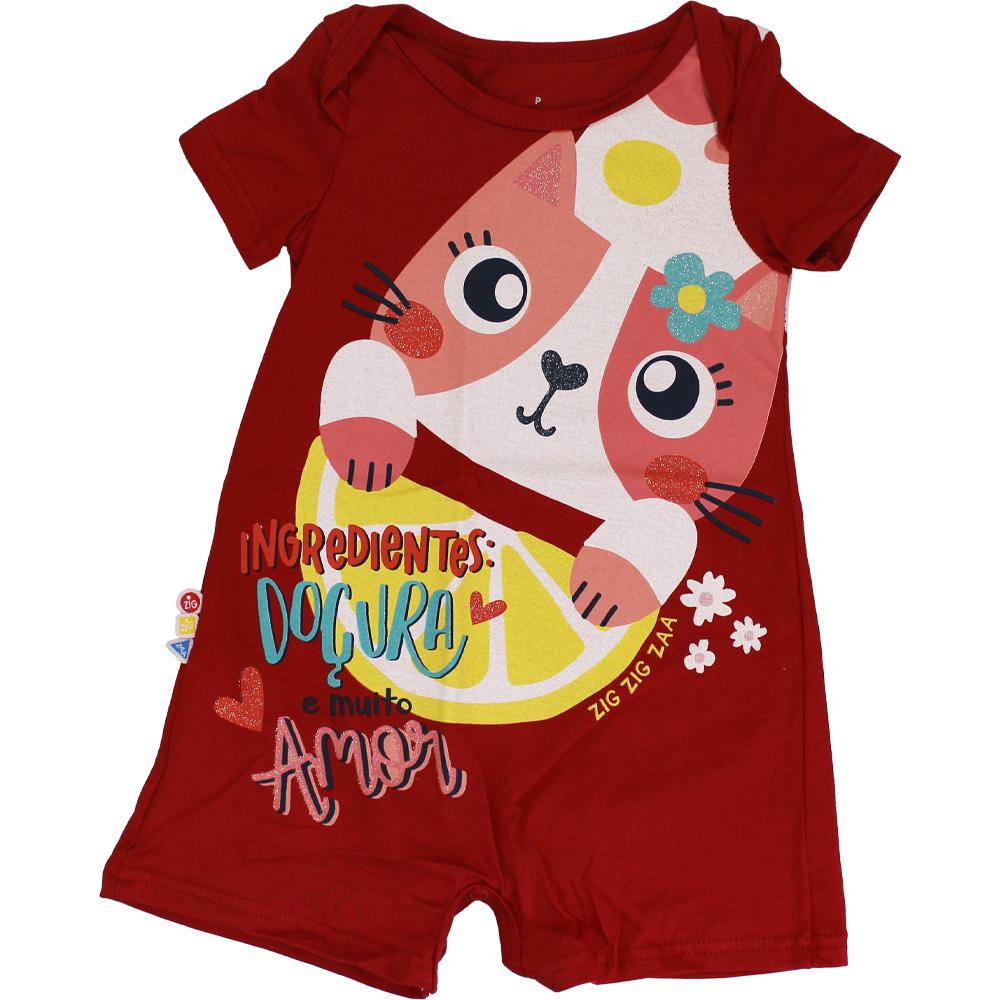 Macacão Curto Bebê Menina Gatinha Fisher Price Vermelho