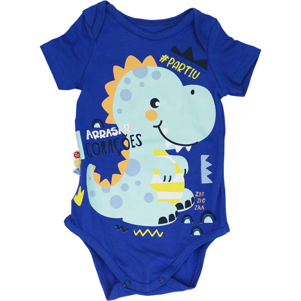 Body Bebê Frases Dinossauro Azul Malwee