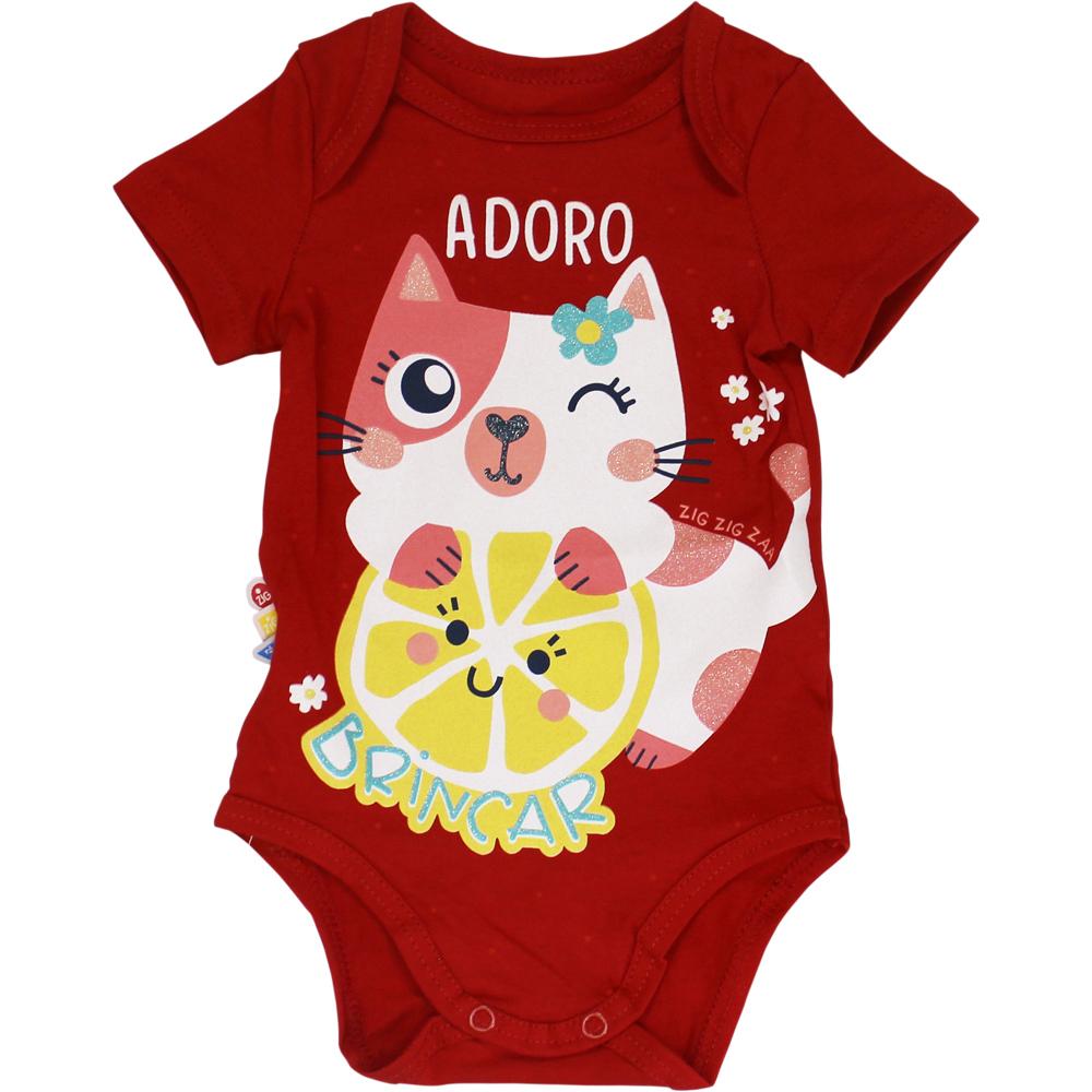 Body Bebê Frases Adoro Brincar Vermelho Malwee