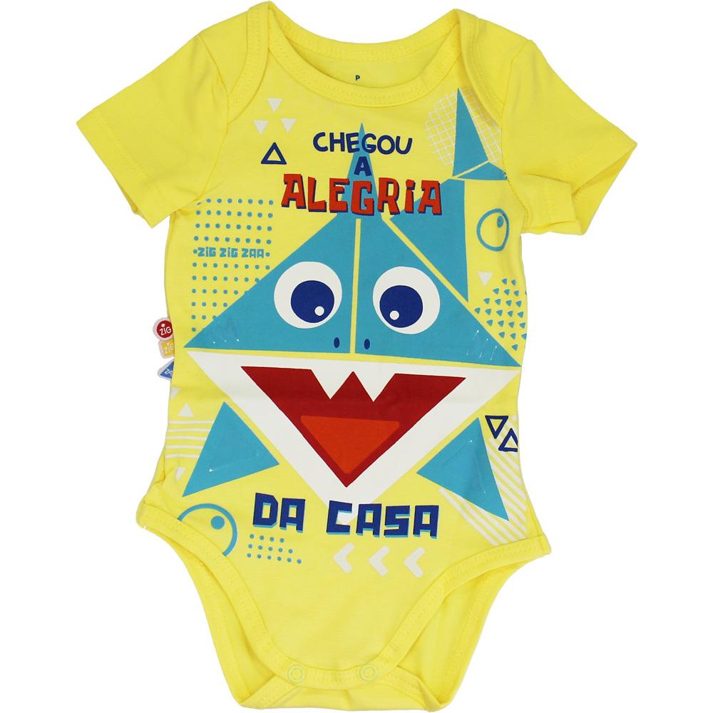 Body Bebê Frases Alegria Amarelo Malwee