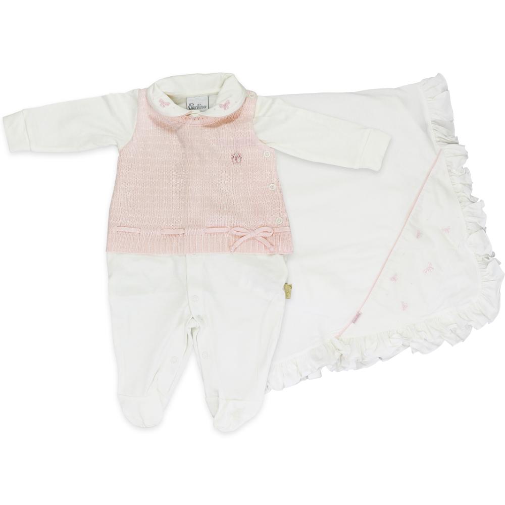 Saída Maternidade Menina Paraíso Tricot Off White